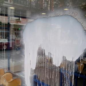 Cristal con grafitti, pulimento aplicado